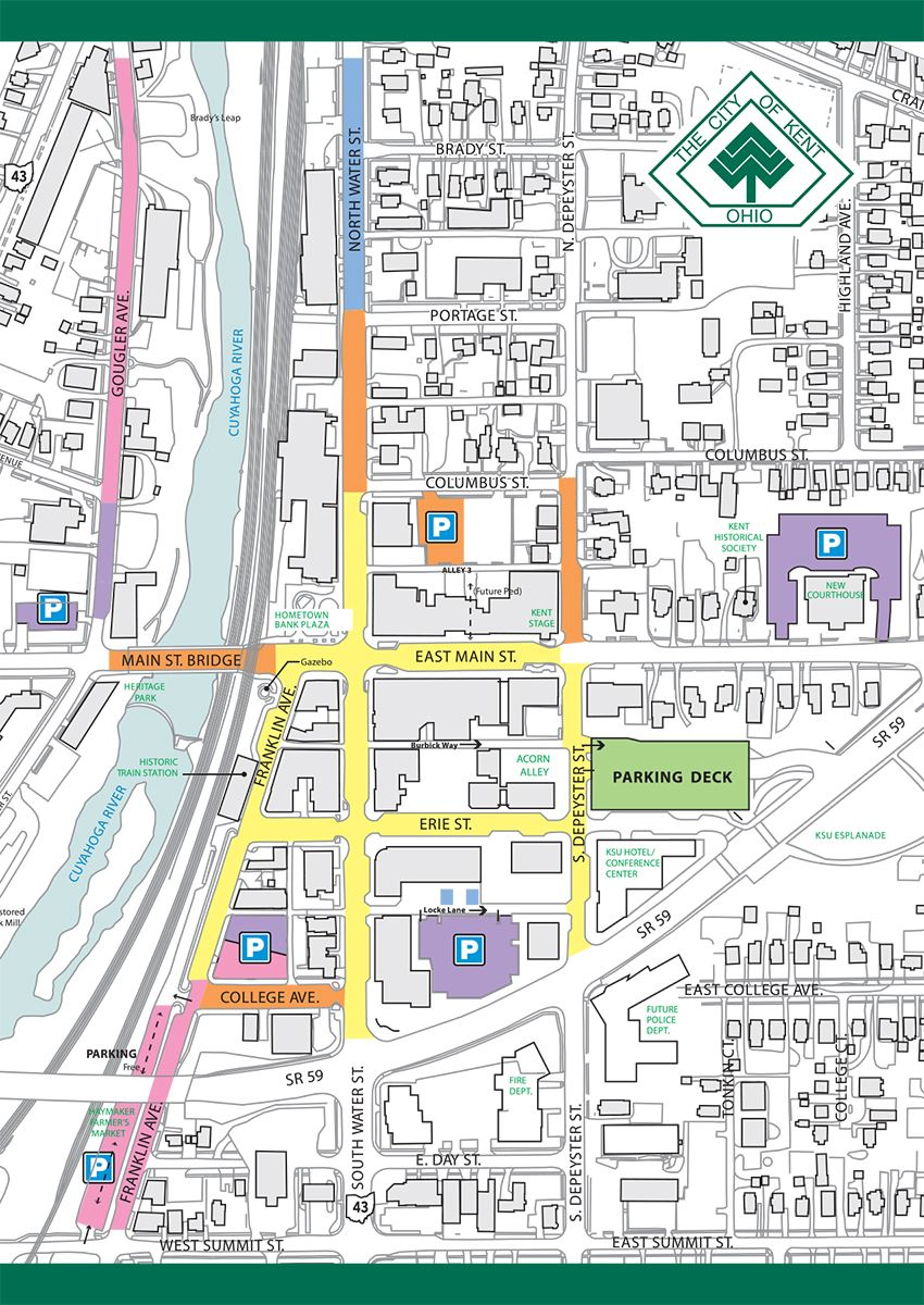 Downtown Kent Parking Map