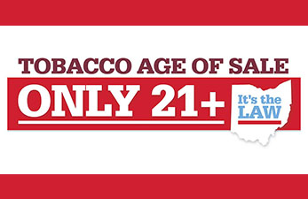 sign displaying tobacco 21 law