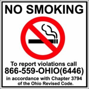 No smoking! To report violations, call 866-559-6446 (OHIO).